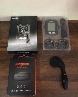 Ciclocomputador e GPS IGPSport IGS10 S + Cinta Cardiaca Magene H64, Novo.